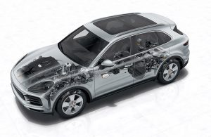 2018 Porsche Cayenne chassis and underbody construction
