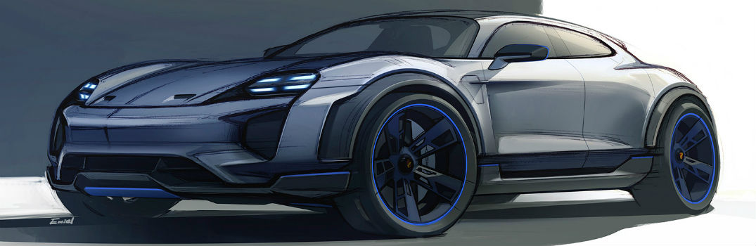 digital design of the Porsche Mission E Cross Turismo Concept