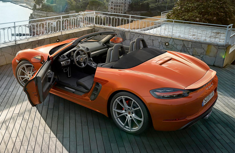 Overhead view of orange 2018 Porsche 718 Boxster