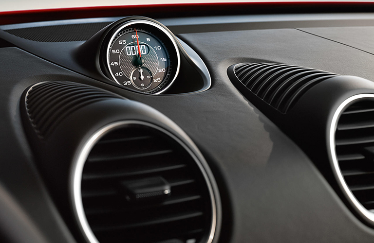 Clock and air vents inside 2019 Porsche 718 Cayman