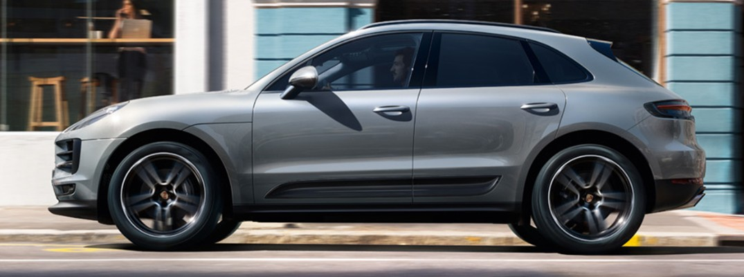 Profile view of silver 2019 Porsche Macan