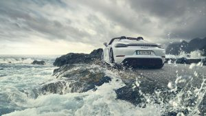 2019 Porsche 718 Spyder on a cliff near water