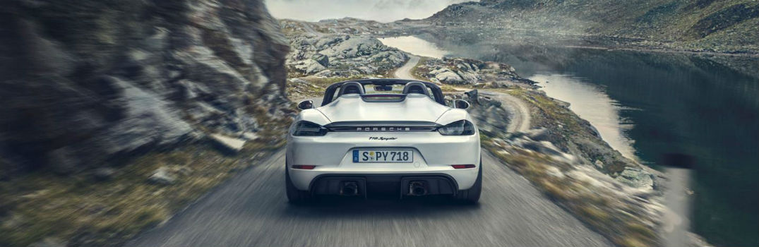 2019 Porsche 718 Spyder driving on a road