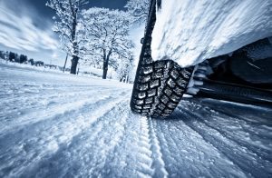 car tire on winter road
