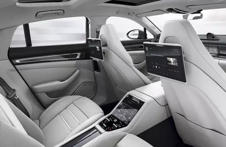 The rear interior of the Rear Seat Entertainment System in a 2020 Porsche Panamera.