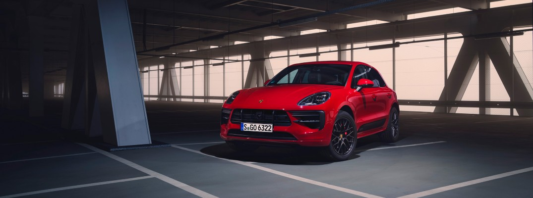 A photo of the 2020 Porsche Macan parked in a garage.