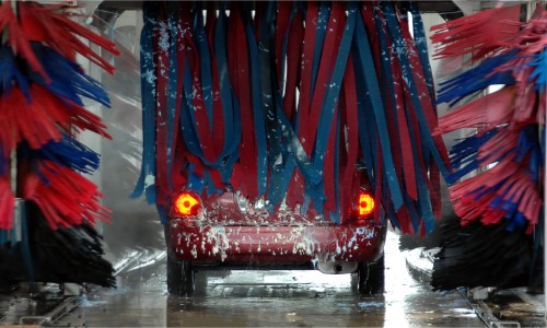 Car going through a professional car wash