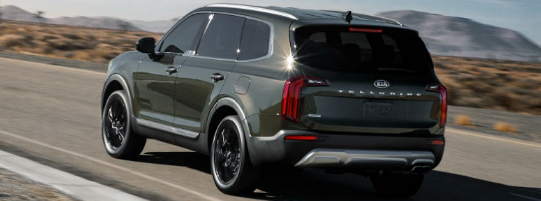 2020 Kia Telluride Rear View of Dark Moss Exterior
