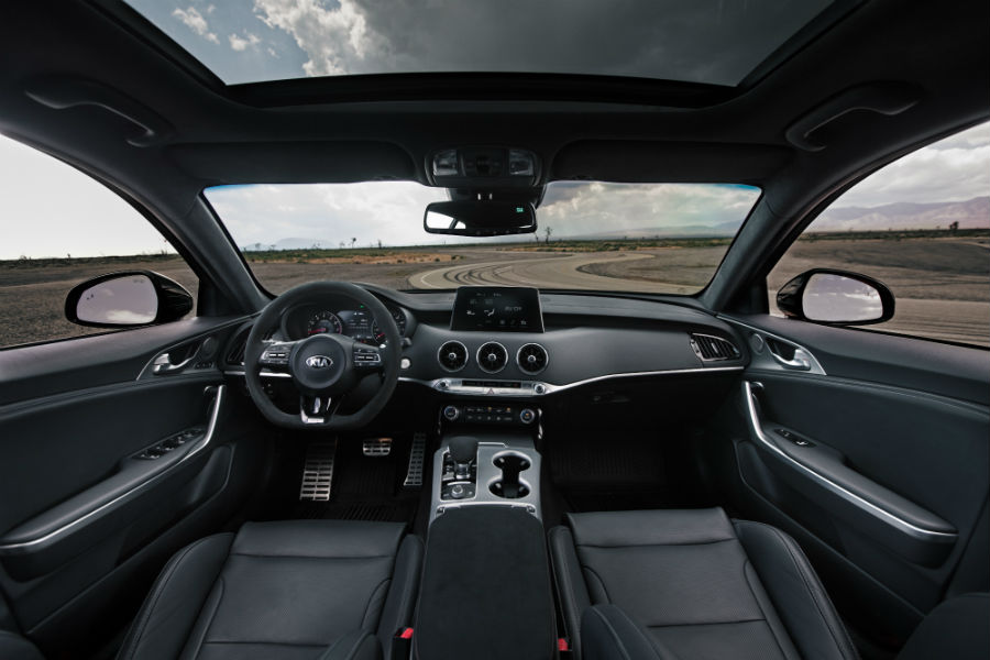 A photo of the front dashboard in the Kia Stinger GTS.