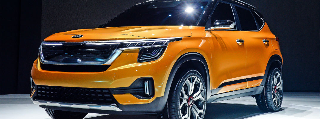 A close up photo of a new Kia concept SUV at the Seoul Motor Show.