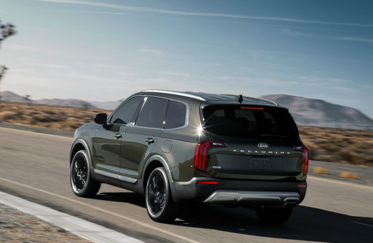 A left rear quarter photo of the 2020 Kia Telluride on the road.