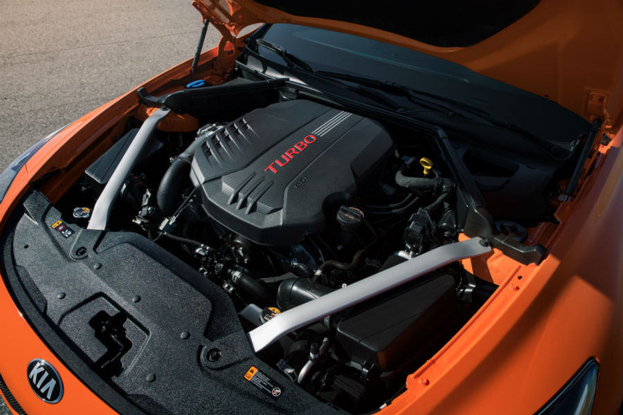 A photo of the turbocharged V-6 engine used by the 2020 Kia Stinger GTS.