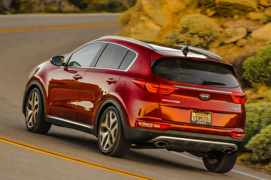 A photo of the 2019 Kia Sportage on the road.