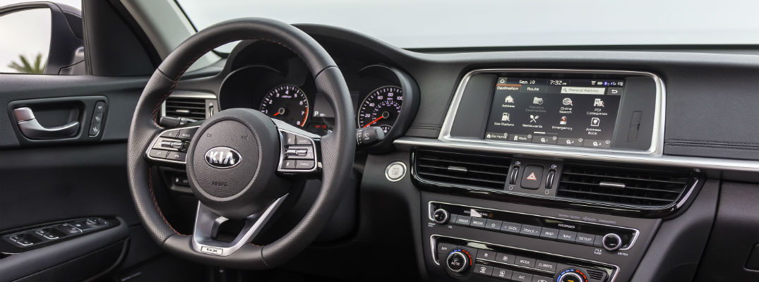 A photo of the dashboard used by the 2019 Kia Optima.