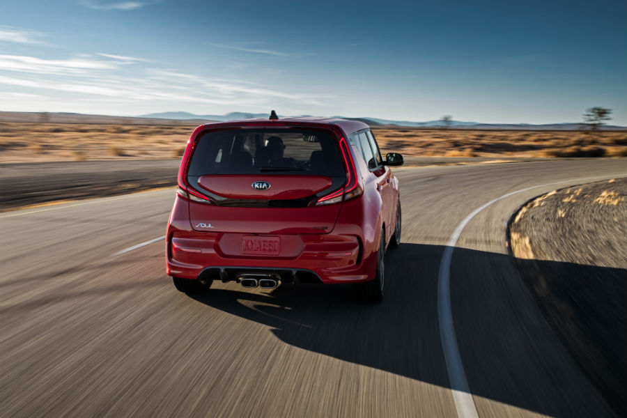 A rear photo of the 2020 Kia Soul on the road.