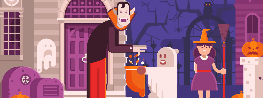 An illustration of a trick-or-treating scene.