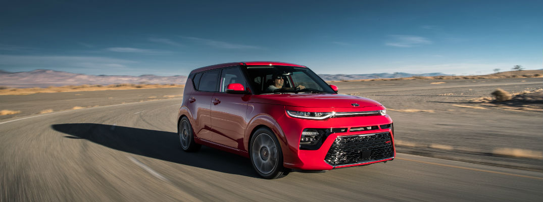 A photo of the 2020 Kia Soul in motion on the road.