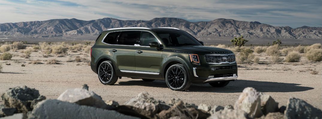 A right profile photo of the 2020 Kia Telluride parked in the desert.