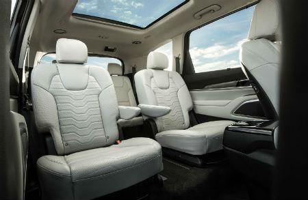 2020 Kia Telluride interior rear cabin second row seats with sunroof