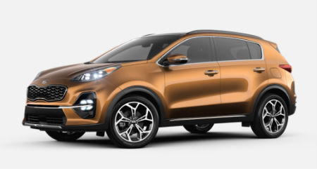 Burnished Copper 2020 Kia Sportage exterior front fascia driver side