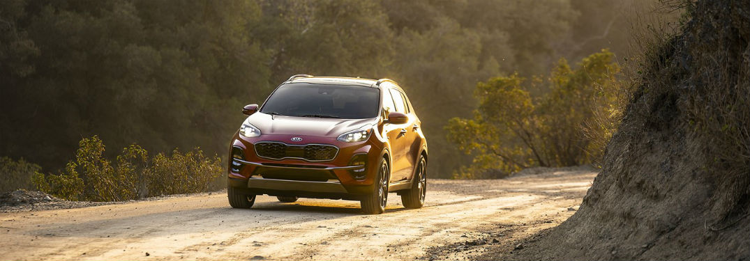 2020 Kia Sportage exterior front fascia driver side on dirt road