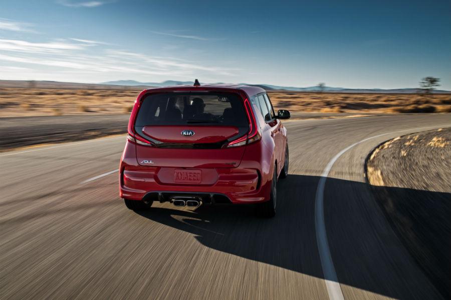 2020 Kia Soul exterior back fascia on blurred highway in desert
