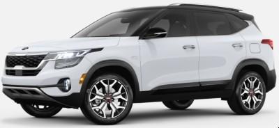 Clear White Cherry Black 2020 Kia Seltos exterior front fascia driver side