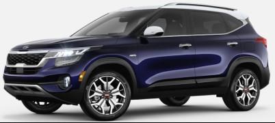 Dark Ocean Blue Clear White  2020 Kia Seltos exterior front fascia driver side