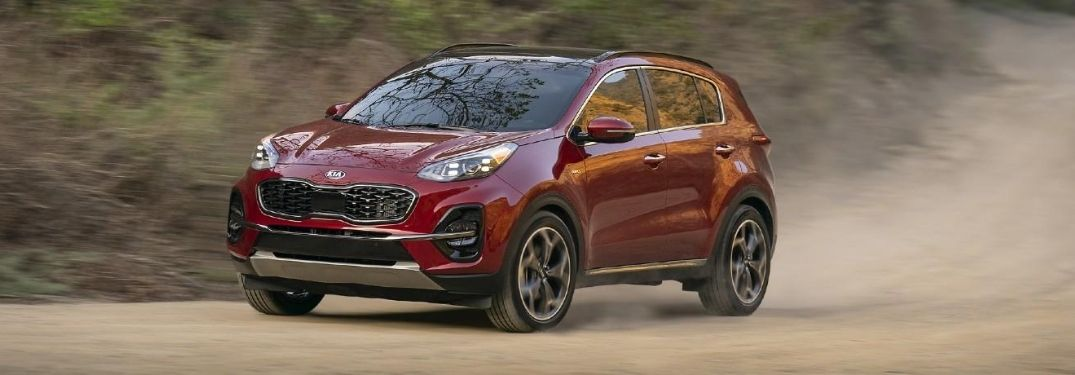 2021 Kia Sportage exterior front fascia driver side on dirt road