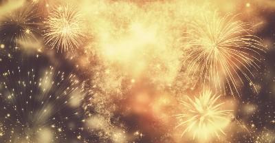 New Years fireworks on black sky
