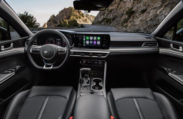 2021 Kia K5 interior front cabin steering wheel dashboard