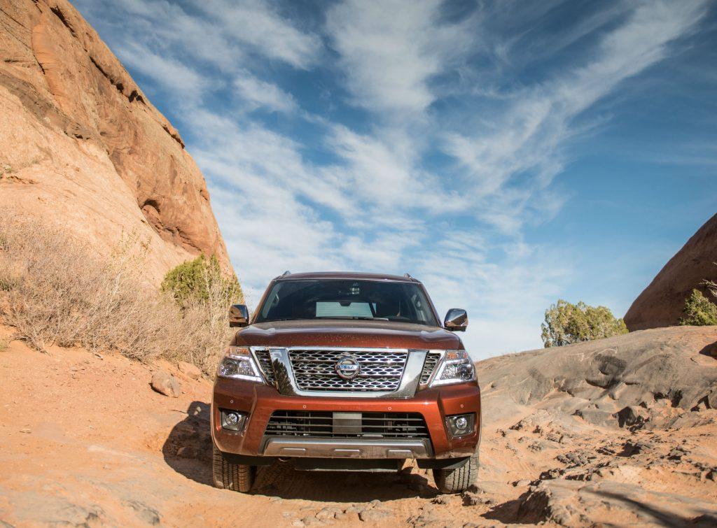 2019 Nissan Armada parked in rocky desert