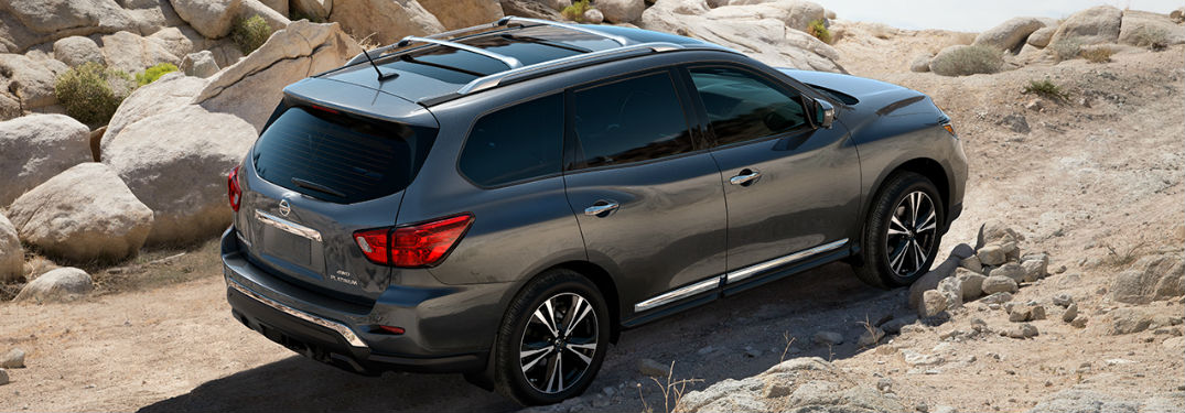 2019 Nissan Pathfinder driving on a off-road trail