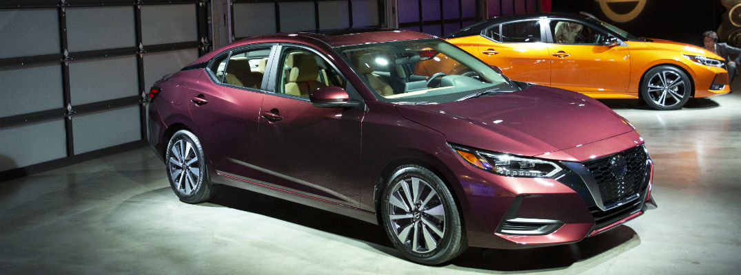 A front right quarter photo of the 2020 Nissan Sentra on display at an auto show.