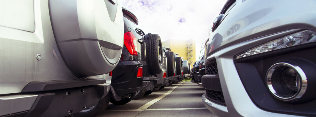 A stock photo of a car sales lot.