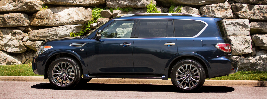Side view of blue 2020 Nissan Armada
