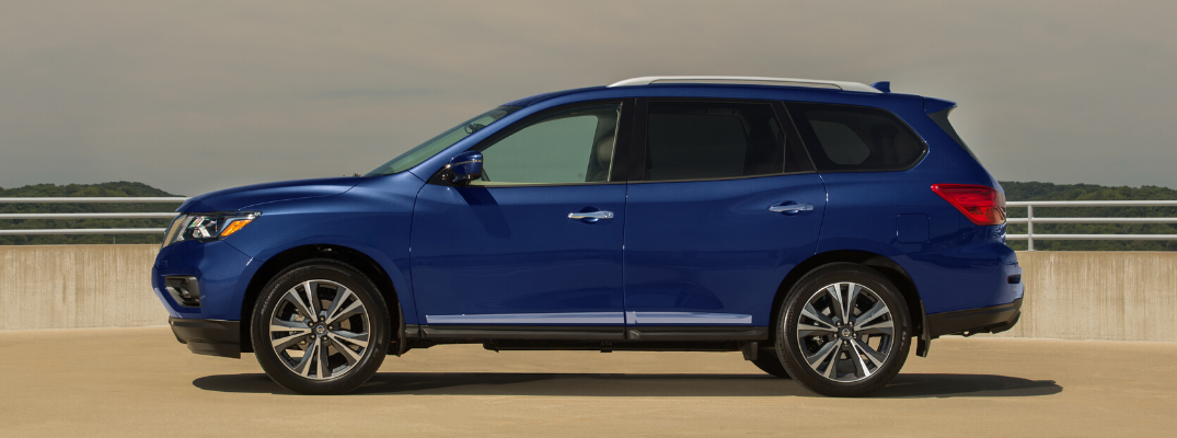 Side view of blue 2020 Nissan Pathfinder