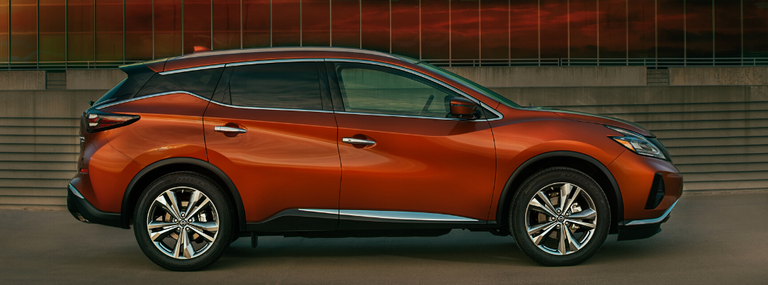 Side view of orange 2020 Nissan Murano