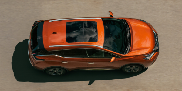 Aerial view of orange 2020 Nissan Murano with dual panel panoramic moonroof
