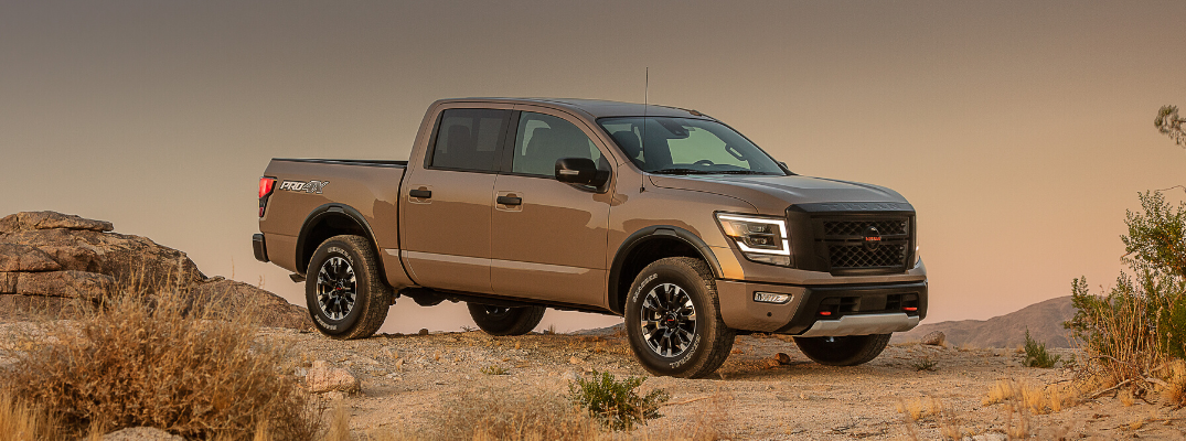 Side view of 2020 Nissan TITAN PRO-4X in Baja Storm