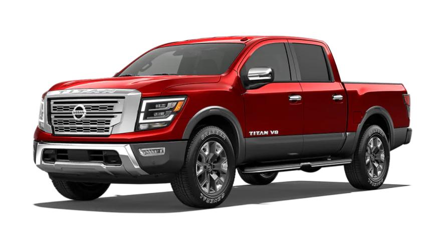 2020 Nissan TITAN in Cardinal Red Metallic TriCoat/Gun Metallic