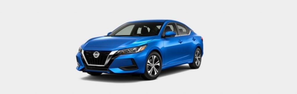 Electric Blue 2020 Nissan Sentra on White Background