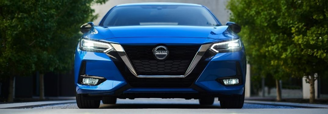 Blue 2020 Nissan Sentra Front Grille and Badge