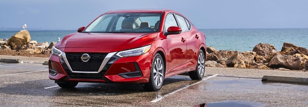 Red 2020 Nissan Sentra Front Exterior at the Beach