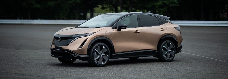Bronze 2022 Nissan Ariya Front Exterior in a Parking Lot