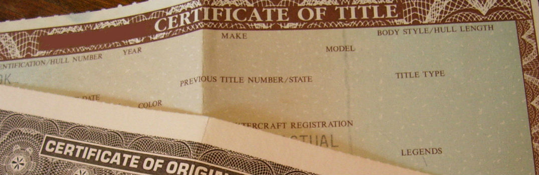 paper copy of a vehicle title