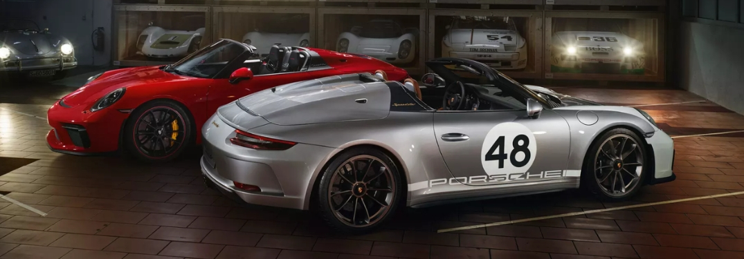 two 2019 Porsche 911 Speedster models in garage