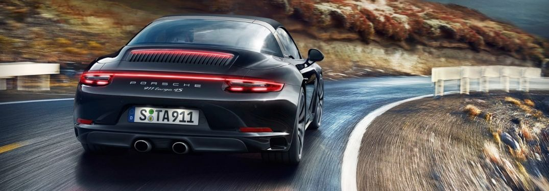 2019 Porsche 911 Targa 4S on curving stretch of road
