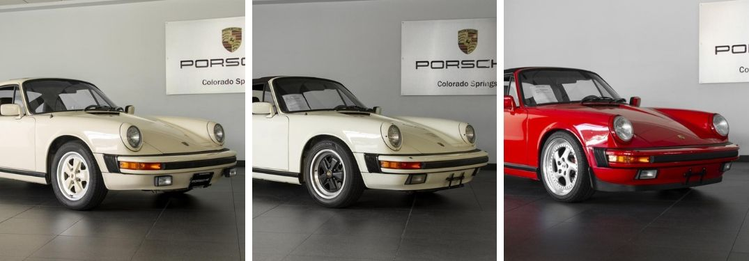 1979 Porsche 911 SC, 1984 Porsche 911 Carrera Cabriolet and 1988 Porsche 911 Carrera Cabriolet on Porsche of Colorado Springs showroom floor
