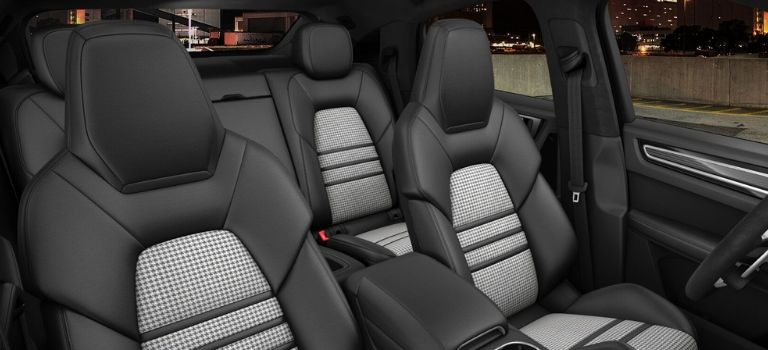 2020 Porsche Cayenne Coupe standard trim with leather seats in Black and Silver Houndstooth